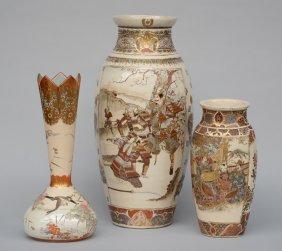 Three Japanese Satsuma Vases, Decorated With Warriors