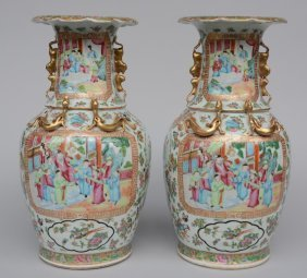 A Pair Of Chinese Canton Vases, With Relief Decoration,