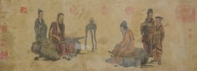 A Chinese Watercolour On Paper With Several Seal Marks,