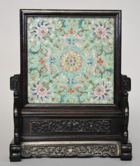 A Chinese Wooden Table Screen With Porcelain