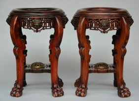 A Pair Of Oriental Wooden Stools With Bronze Ornaments