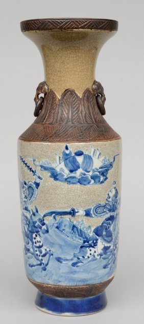 A Chinese Stoneware Vase, Blue And White And Polychrome