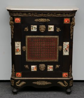A Rare 19thc Neoclassical Ebonised Cabinet With Fine