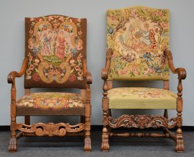 Two Richly Carved Lxv-style Armchairs With 'gros Point'
