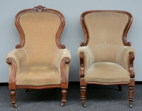 Two Mahogany Armchairs With Linen Upholstery, 19thc, H