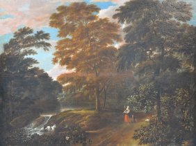 Unsigned, A Sheperdess And A Child In A Landscape, Oil
