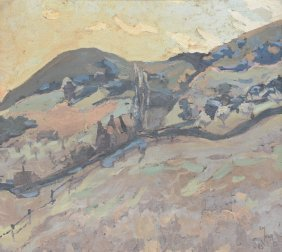 Meuris E., Mountain Landscape, Dated 1923, Oil On