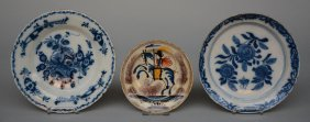 Two 18thc Earthenware Plates, Blue And Delft Decorated;