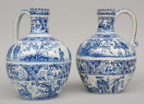 Two Blue And White Jugs In Dutch Delftware, Chinoiserie