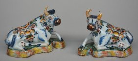 A Pair Of 18thc Polychrome Decorated Dutch Delftware