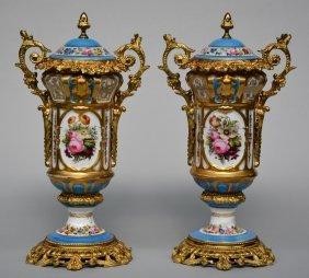 A Rare Pair Of Paris Porcelain Vases, In Blue Céleste