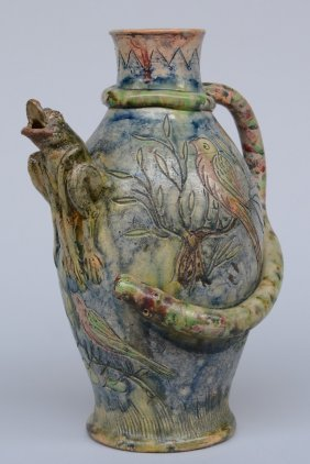 A Typical Flemish Earthenware Jug, Sgrafitto Decorated,