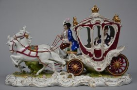 An Imposing Polychrome Decorated Porcelain Figural