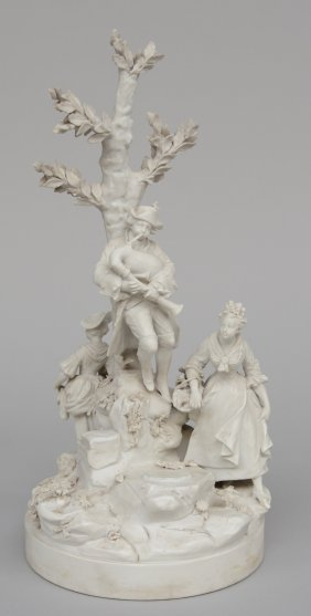 A French Romantic Biscuit Group, Sènnes, 19thc, H 37,5