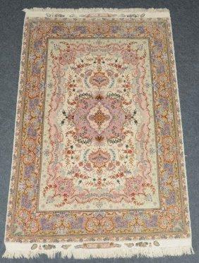 An Oriental Silk Rug With Floral Motifs 'tabriz',