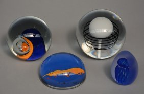 Four Murano Crystal Paperweights, 60's Design, All Of