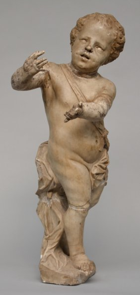A Marble Sculpture Of An Angel, French, 18thc, H 96,5
