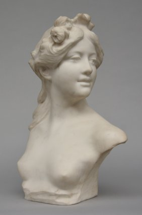 Lambeaux J., A Bust Of A Young Girl In White Carrara