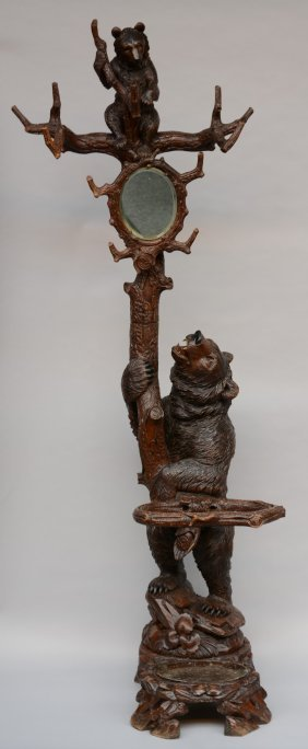 A Black Forest Hall Stand In The Form Of A Carved Bear