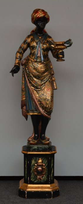 A 19thc Carved And Painted Black Moor Figure, H 180 Cm