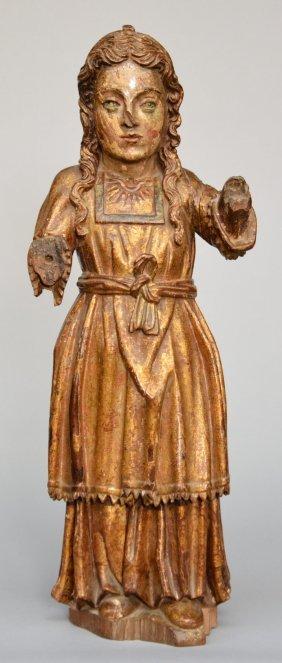 A Polychrome And Gilt Decorated Oak Female Saint, Late