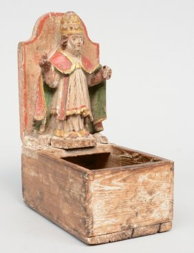 An Early 18thc Contribution Box With On Top A Figure Of