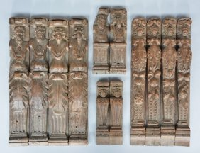 Twelve Late 16thc Oak Furniture Fragments, H 18,5 - 37