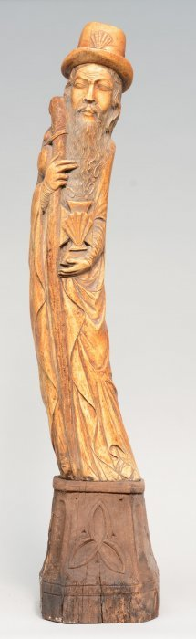 An Ivory Saint Jacob Statue On Wooden Base, First Half