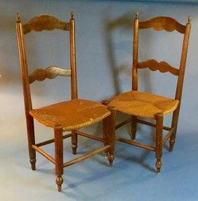 Antique Primitive Acorn Rush-seat Child's Chairs
