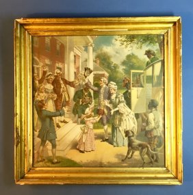 Vintage Colonial Print In Antique Gilded Frame
