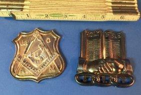 Lot Of 2 Vintage Masonic Grave Badges