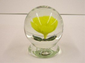 Vintage Footed Rose Glass Paperweight