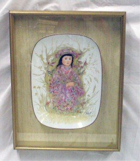 Edna Hibel Painted Porcelain Wall Plaque