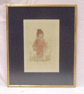 Edna Hibel Colored Lithograph