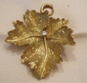 18k YG & Diamond Leaf Form Pin