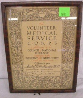 WWI: Volunteer Medical Service Corps Certificate