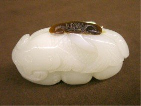 White Jade Carved Fish On Pod