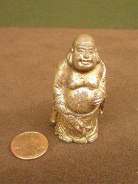 Chinese Gilt White Jade Standing Buddha Carving