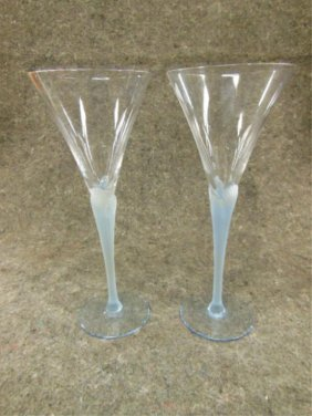 11 Frosted And Clear Champagne Glasses