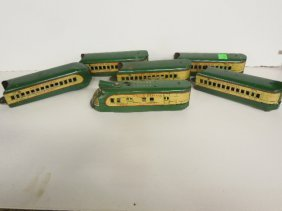 Vintage Marx Tin Litho Up Toy Train Cars