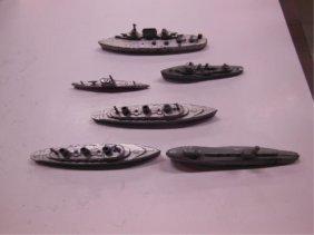 6 Vintage Tootsie Toy & Manoil Metal Ships