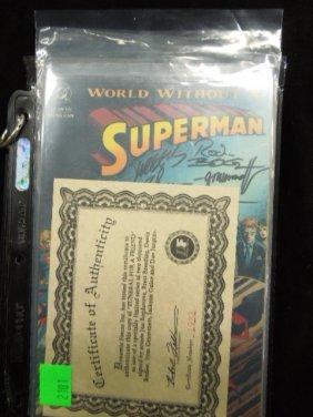 (2) D.c. Superman Comics, (1) Signed