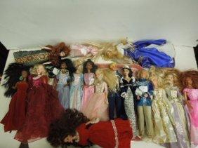(16) Barbie And Ken Dolls