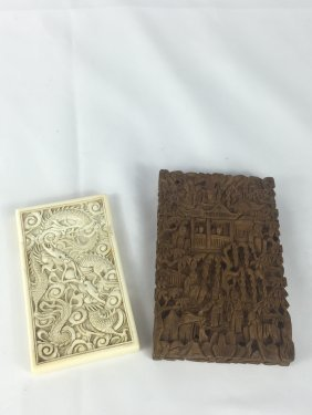 Two Chinese Bone And Wood Carved Name Card Cases