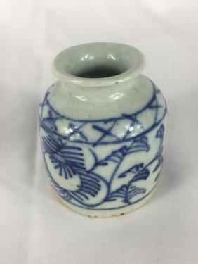 Chinese B&w Brush Pot 19thc