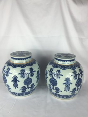 Pair Of Chinese B&w Square Water Pots