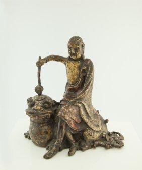 Chinese Bronze Buddha Seated On Lion