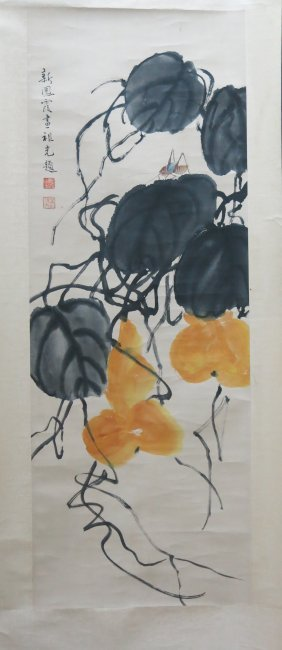 Chinese Scroll Painting Of Gourds