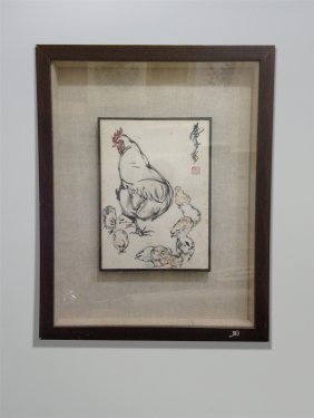 Small Framed Chiense Painting Of Goose