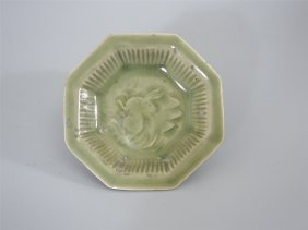 Chinese Porcelain Yaozhou Kiln Engraved Floral Octgonal